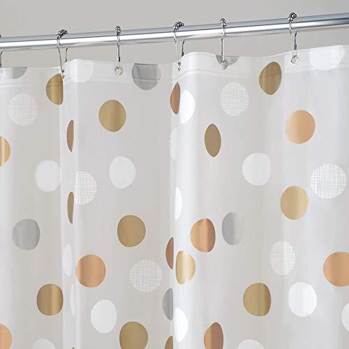 MDESIGN Duschvorhang Anti-Schimmel - PVC-frei - Gepunkteter Dusch- & Badewannenvorhang - Duschvorhang wasserabweisend - 12 verstärkte Metallösen für einfache Aufhängung