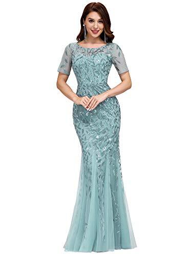 Ever-Pretty Sirena a Fiori Vestido de Noche Lentejuela Tul Vestido de Fiesta Manga Corta Largo Azul Cielo Oscuro 36