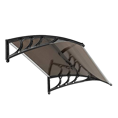 "VINGLI 30"" x 40"" Window Awning Door Canopy Modern Polycarbonate Door Awning Brown & Black Bracket UV Rain Snow Sunlight Protection Hollow Sheet"