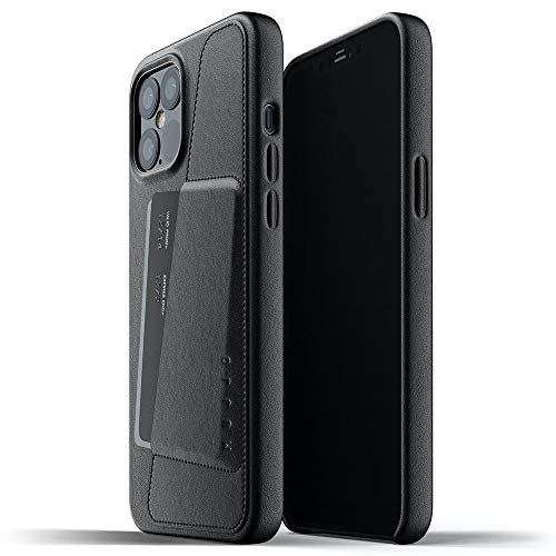 Mujjo iPhone 12 Pro Max Leather Case Black - Premium Wallet Case - Compartments for 2-3 Cards - Extra Thin - Shockproof Protective Case - Wireless Charging - 6.7 Inches - Unique Natural Ageing Effect
