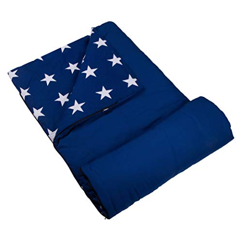 Wildkin Kids Sleeping Bags for Boys and Girls, Perfect Size for Parties, Camping & Overnight Travel, Cotton Blend Materials Sleeping Bag, Measures 66 x 30 x 1.5 Inches, BPA-free(Blue with White Stars)