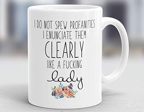 No arrojo blasfemias Las enuncio claramente como una maldita dama Taza de café personalizada, taza de cerámica de 11 oz, taza de té para bebidas para el hogar y la oficina, cumpleaños, aniversario, Ha