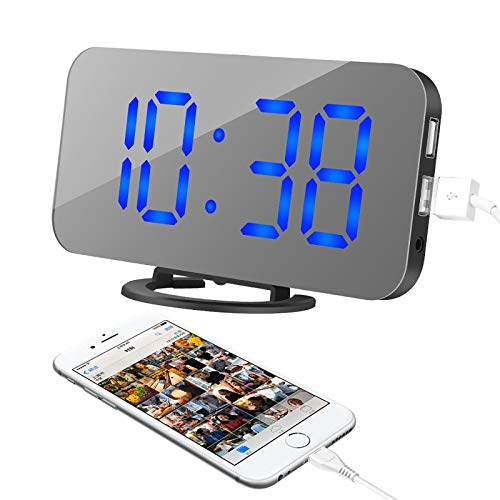 Oenbopo Alarm Clock, LED Digital Clock with 6.5  Large Display, Dual USB Charging Ports, Snooze Function, Diming Mode, Black Body Mirror Surface Clock for Bedroom Living Room Office (Blue Digital)