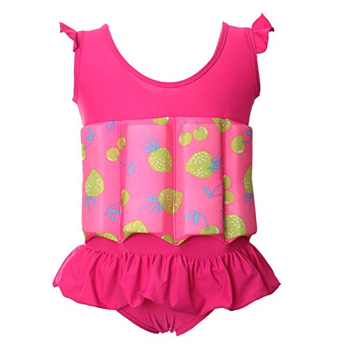 Kids Baby Girls Float Suit Strawberry Floatation Swimsuit with Adjustable Buoyancy Bathing Swimwear Toddler One Piece Swimming Suit Summer Flutter Sleeve Vest Ruffle Tutu Swim Dress Hot Pink 2-3T