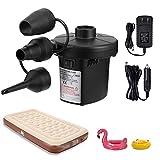 Acksonse Elektrische Luftpumpe, Elektropumpe Power Luftmatratze Pump mit 3 Luftdüse, perfekte Inflator- / Deflator pumpe für Camping im Freien, aufblasbare Kissen, Boote, Schwimmring