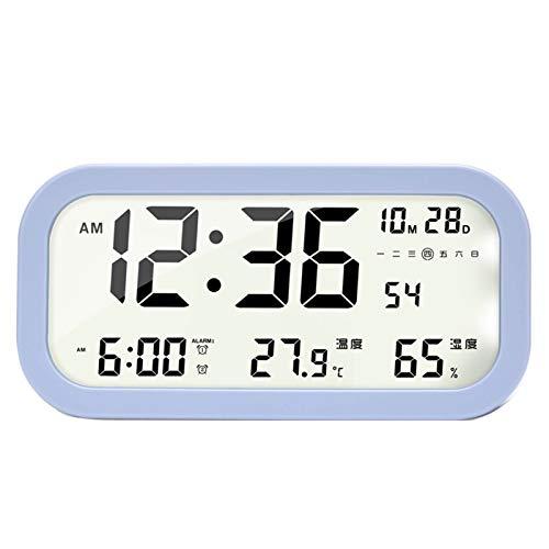 Relojes de escritorio del reloj de cabecera Reloj de alarma LCD digital Luz electrónica de mesa grande con fecha y hora Temperatura Semana Luz de noche Reloj para oficina dormitorio ( Color : Purple )