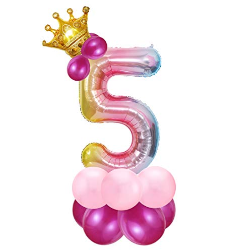 Foil Globo Número 5 Rosa, 5er Cumpleaños Globos, Feliz Cumpleaños Decoración Globos 5 Años Niñas, Arco Iris Globos de Número 5, Globos Numeros para Cumpleaños, Fiesta, Decoración