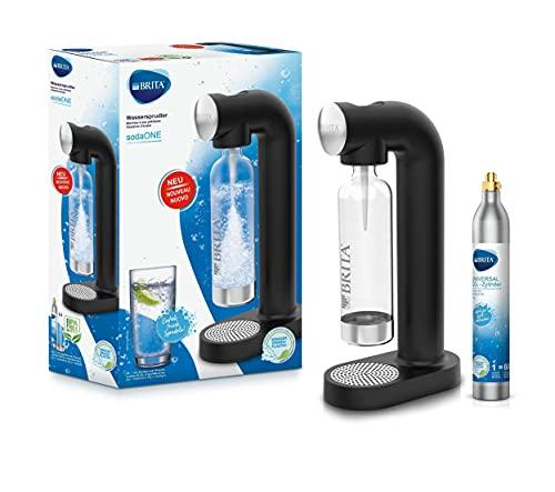 BRITA Wassersprudler sodaONE schwarz inkl. CO2-Zylinder und BPA-freier PET-Flasche | Macht aus Leitungswasser prickelndes Sprudelwasser (bis zu 60l pro Zylinder)