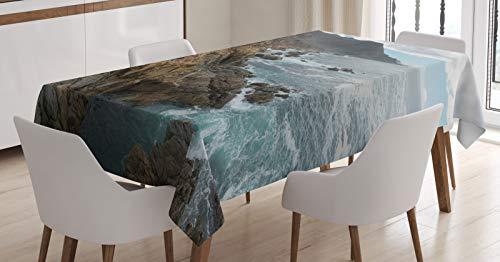 ABAKUHAUS Big Sur Tafelkleed, Central Coast Donkere Hemel, Eetkamer Keuken Rechthoekige tafelkleed, 140 x 170 cm, Cacao en Pale Blue Gray