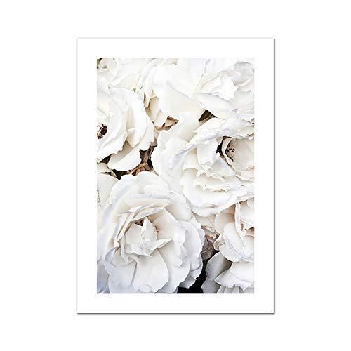 Nordische moderne Dekoration Weiße Rose Eukalyptus Zweig Leinwand Malerei Wandkunst Bild für Wohnzimmer Home Decoration 20x25cm