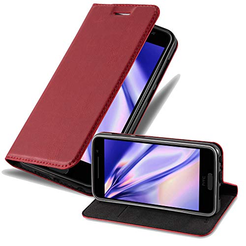 Cadorabo Hülle für HTC One A9 in Apfel ROT - Handyhülle mit Magnetverschluss, Standfunktion & Kartenfach - Hülle Cover Schutzhülle Etui Tasche Book Klapp Style
