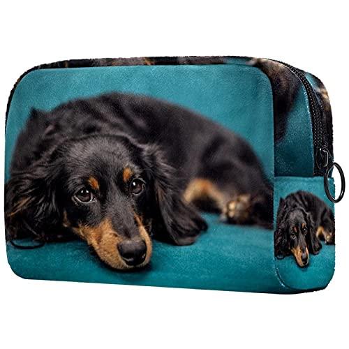 Bolsa de Maquillaje compacta Bolsas de cosméticos de Viaje portátiles para Mujeres niñas Neceser,Perro Cachorro Mascota Animal sofá
