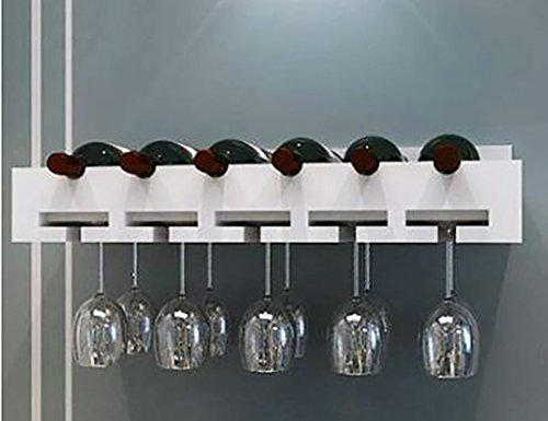 Weinregal ZCJB Holz, Holz Wand-montiert Weinglas Rack Goblet Halter Hängende Becherhalter Regal (Farbe : Weiß, größe : 60)