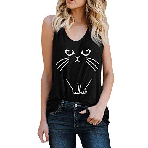 Camisetas sin Mangas Mujer SHOBDW Camiseta Verano Playa Mar Camisola De Impresión De Gato Cultivo Tops Chaleco De Cuello Redondo Blusa Suave Suelto Camisa De Talla Grande para Mujer(Negro,XXL)