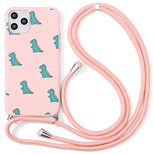 Eouine Capa transversal para Xiaomi Mi 9 SE [15 cm] – Cordão de pescoço com capa Mi 9 SE – Alça ajustável de TPU com estampa de silicone rosa antiarranhões – Crocodilo