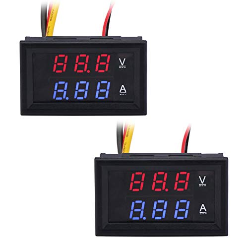 KeeYees 2 pezzi 0.28'LED Amperometro Voltmetro Digitale DC 0-100V 10A Blu Rosso LED Doppio Display [Classe di efficienza energetica A]