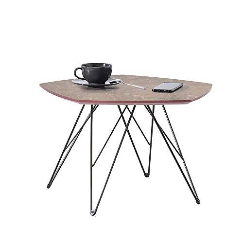 Selsey Eladar - Table Basse marbre/Table de Salon (57x56 cm, Effet marbre Brun/Noir)