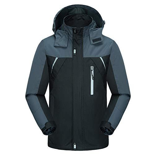 El otoño y el invierno delgado de los hombres con capucha de color coincidencia al aire libre impermeable chaqueta chaqueta de más tamaño de la chaqueta-negro_