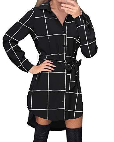 Style Dome Camisas Mujer Blusas Manga Larga Vestidos Invierno Franela Plaid Blusa Vestido Jersey Tartán con Cinturones Vestido Fiesta Negro-F64156 XL