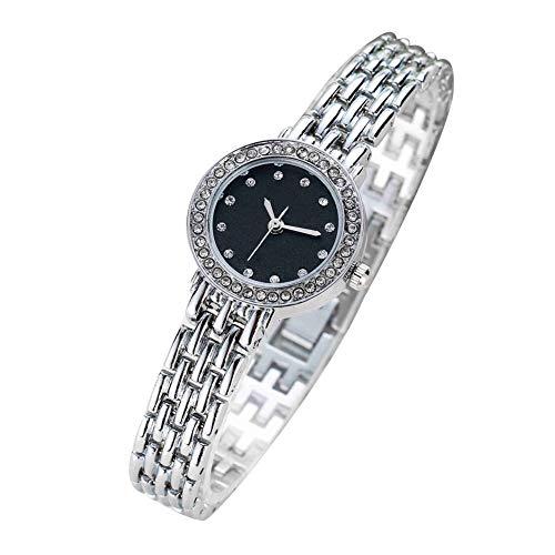 Frauen-Uhr-Analog-Quarz-Bewegungs-Armbanduhr mit Alloy Armband Crystal Black Dial Kette Uhren mit Knopf-Batterie (Silber)