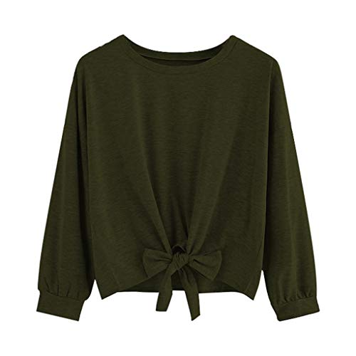 Alangbudu Women Bow Tie Knot Front Pullover Long Sleeve Cropped Tops Casual Solid Blouse Loose Fit Short Sweatshirt Army Green