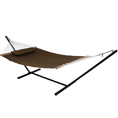 Sunnydaze Quilted Designs Hammock with Stand 2 Person Heavy Duty - Double Hammock with 12 Foot Steel Stand for Backyard & Patio - 350 Pound Weight Capacity - Brown