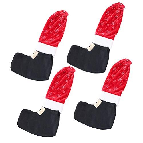 BESTOYARD Stuhlsocken Weihnachtsstiefel Bein Schuhe Form Schneeflocken Muster Tisch Stuhlbeinschutz Weihnachten Tischdeko 4 Stück (Rot und Schwarz)