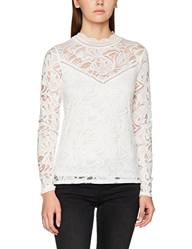 Vila Clothes Damen VISTASIA L/S LACE TOP-NOOS Langarmshirt, Weiß (Cloud Dancer Cloud Dancer), 36 (Herstellergröße: S)