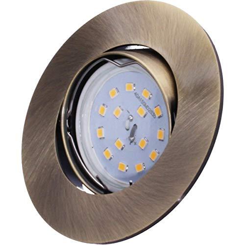 SMD LED Einbaustrahler 230 Volt 5W SMD flach step to Dimm Modul Einbau Strahler Deckenleuchte Rahmen Altmessing Rund schwenkbar 45 Grad hg35-6 Warmweiß