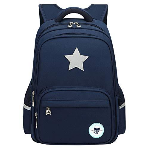 famuka Primary School Bag Backpack Girls Boys Waterproof Schoolbag Kids Rucksack Children Travel Bag Students Book Bag (Navy)