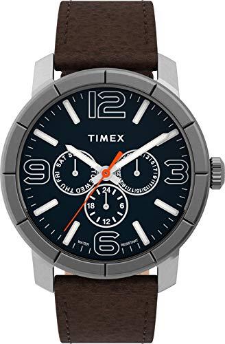 Timex Herren Analog Uhr mit Leder Armband TW2U15300
