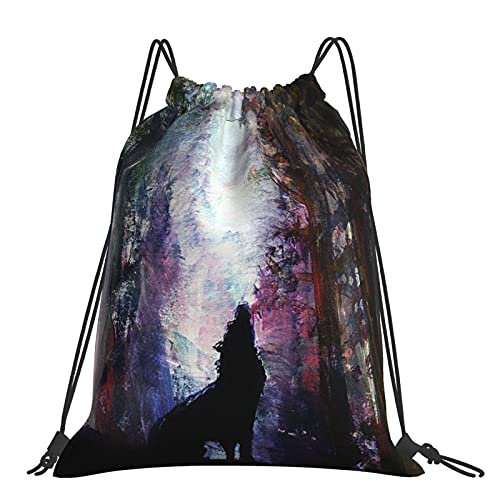Drawstring Backpack Watercolor Forest Wolf String Storage Bags Sports Yoga Gym Travel Swimming Sackpack For Men Women Girls