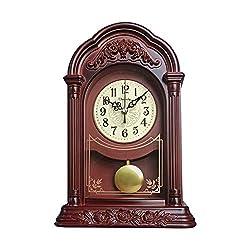 Table Clock Vintage, Mantel Clock Silent Decorative,Fireplace Mantle Clock, Battery Operated Desk Clock for Living Room Decor Office Shelf Decoration