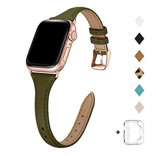 Bestig Leather Band Compatible for Apple Watch 38mm 40mm, Slim Thin Genuine Leather Replacement Strap for iWatch Series 6 SE 5 4 3 2 1(Olive Green Band+Rosegold Connector, 38mm 40mm)