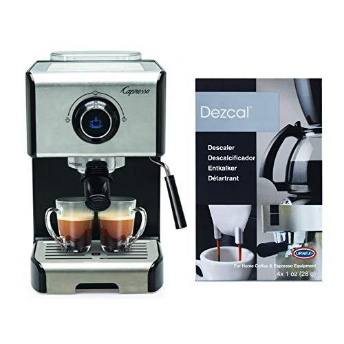 Capresso EC300 1200-Watt Espresso and Cappuccino Machine (Black/Stainless Steel) with Descaling Powder Bundle (2 Items)