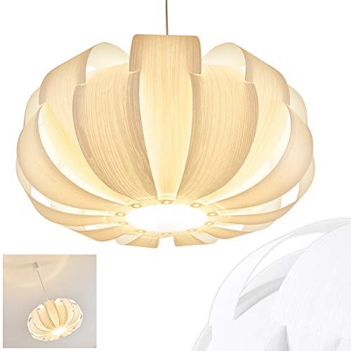 Pendelleuchte Zobus, moderne Hängelampe aus Kunststoff in Weiß mit Holzoptik, Ø 45 cm, Höhe 125 cm (kürzbar), E27 max. 60 Watt, Hängeleuchte geeignet für LED Leuchtmittel