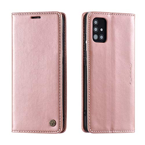 UEEBAI Wallet Case for Samsung Galaxy A21s, Premium PU Leather Case Vintage Matte Wallet Flip Cover [Card Slots] [Magnetic Closure] Stand Function Folio Shockproof Full Protection - Rose Gold