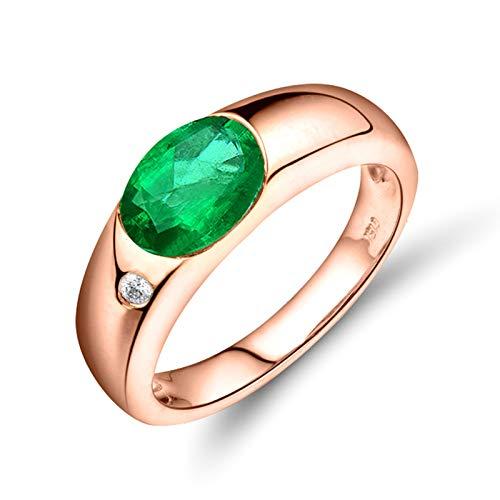 Beydodo Anillo Mujer Compromiso,Anillos de Mujer de Oro Rosa 18K Oro Rosa Verde Oval Esmeralda Verde 1.05ct Diamante 0.13ct Talla 11(Circuferencia 51MM)