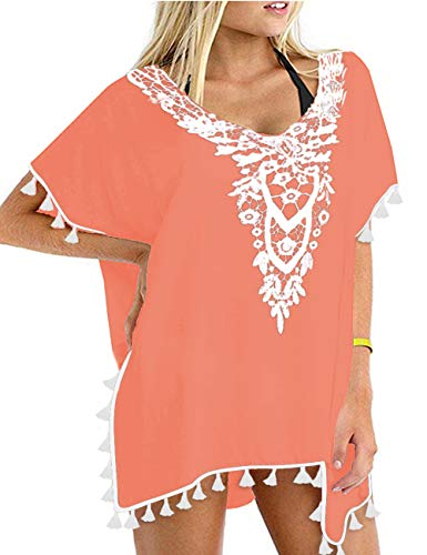 CPOKRTWSO Womens V Neck 3/4 Sleeves A-line Casual Tshirt Dress Swimsuit Bikini Cover Ups Coral Orange L/XL