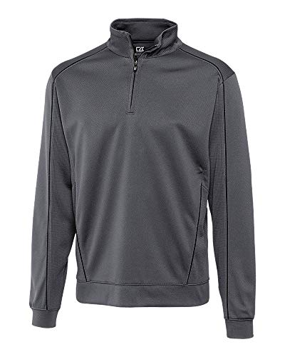 Cutter & Buck BCK08861 Men's CB Drytec Edge Half Zip Sweater, Elemental Grey/Black, 3X Big