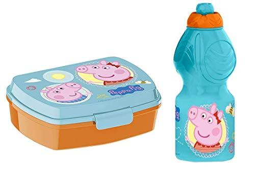Familienkalender Peppa Pig broodtrommel, set van 2 stuks, BPA-vrij, lunchbox met Peppa Pig + drinkfles 400 ml   school…