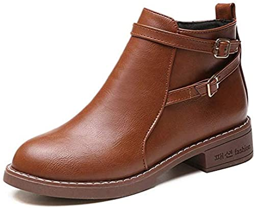 Farbe Schuhe Kappe Runde Stiefel Martin Dicke Reißverschluss