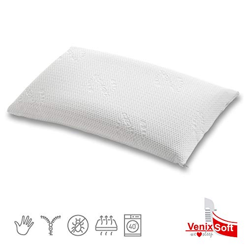 venixsoft Cuscino per Letto in Memory Foam, Modello saponetta Anti cervicale, Fodera Antiacaro sfoderabile, Made in Italy