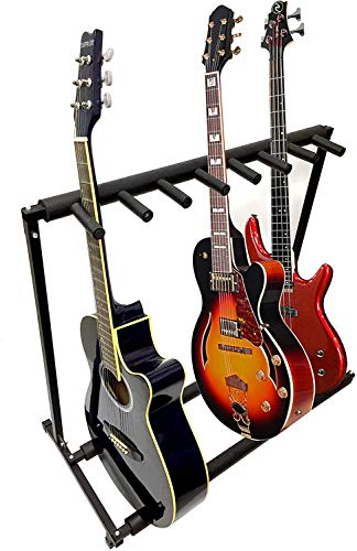 7 Guitar Stand - Multi-Guitar Stand Display Rack Folding Stand For Band Stage Bass Acoustic GuitarBlack