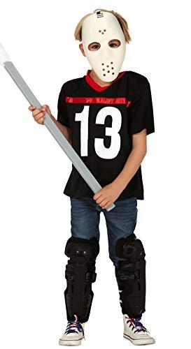 Fiestas Guirca Gruseliger Eishockey-Spieler Halloween-Kostüm für Kinder schwarz-Weiss - 110/116 (5-6 Jahre)