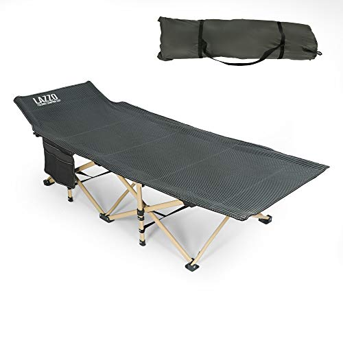 "LAZZO 74.8""x28"" Folding Camping Cot, Side Pocket Portable Camp Cot, Stable Lounger Bed with Carry Bag for Home, Office, Yard, Balcony, Patio, Garden, Beach, Famliy Lounging, Load 220lbs,Gray"