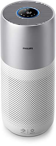 Philips AC3036/10 Luftreiniger Connected 3000I entfernt bis zu 99,9{3b9f5126f71d1aff9cabeae65689b7a6f07fc5560e1f0438e97b79932ced6258} der Viren und Aerosole* aus der Luft (für Allergiker und Raucher, bis zu 104M², Cadr 400M³/H, mit App-Steuerung) weiß/silber