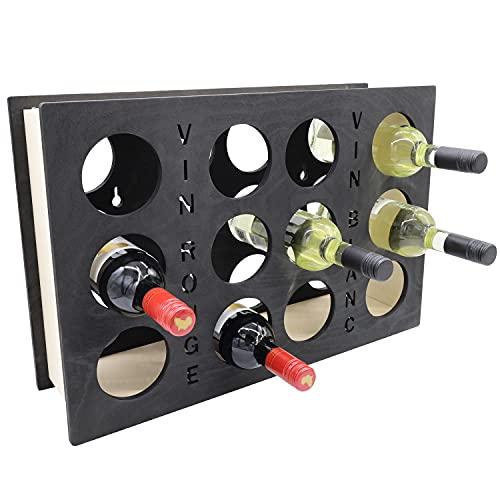 INEXTERIOR Botellero de madera para 12 botellas, montaje en pared o de pie, con texto decorativo (negro)