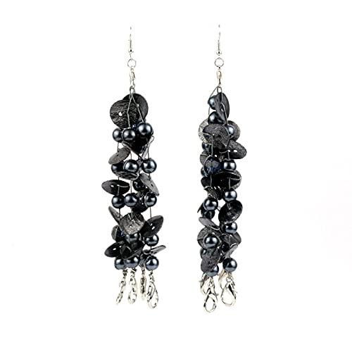 HNCZ Pendientes de Borla Larga con Cuentas de Perlas de Concha Redonda geométrica Pendientes Accesorios de Vestir