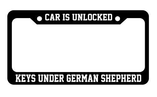 Auto entsperrt ist Schlüssel unter deutscher Schäferhund Nummernschild Rahmen Halterung